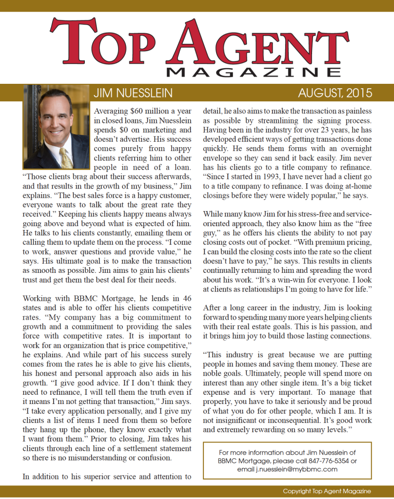 James Nuesslein Mortgage Lender Top Agent Magazine